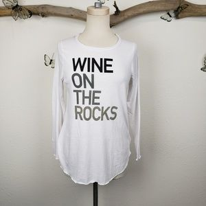 Chaser wine on the rocks long sleeve white tee